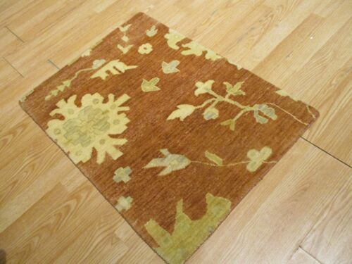 2x3 Modern Agra ABC Collection Vegetable Dye Handmade-knotted Wool Rug #23