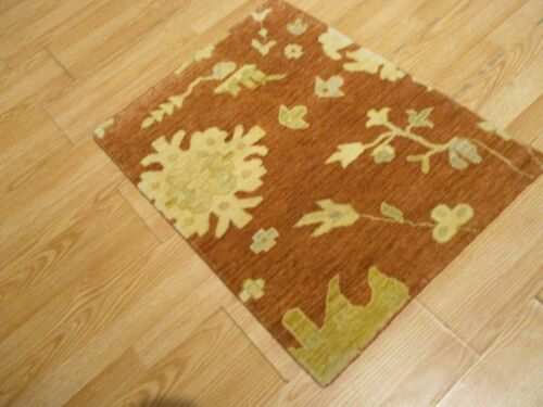 2x3 Modern Agra ABC Collection Vegetable Dye Handmade-knotted Wool Rug #29