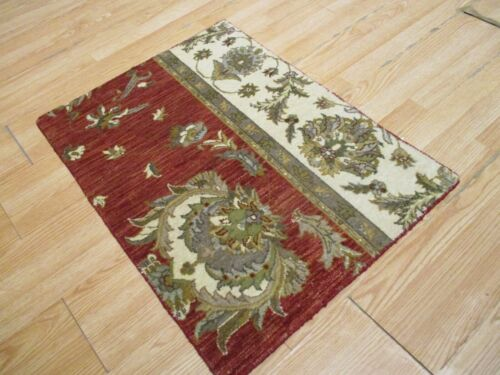 2x3 Modern Agra ABC Collection Vegetable Dye Handmade-knotted Wool Rug #17