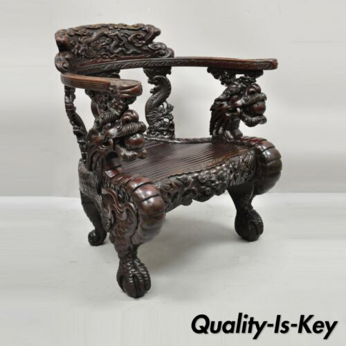 Antique Japanese Meiji Period Dragon Carved Hardwood Lounge Throne Arm Chair