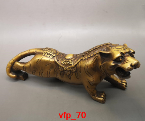"""14""""Old China antique Collection young copper Tiger Carve image"""