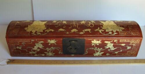 """Antique Chinese Red Leather Gilt Decorated Covered Wood Scroll/Document Box 24"""""""