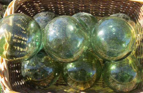 """Japanese GLASS FLOATS Lot-9 in Sea Green 3-3.5"""" Buoy BALLS Fishing Antiques!"""