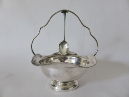 Doric Ware Silver Plated Sugar Basket with Spoon, EPNS Tableware, 1930s Kitchen