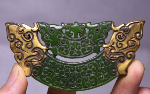 5CM Chinese Natural Old Green Jade Gilt Double Head Yu Huang Bi Amulet Pendant