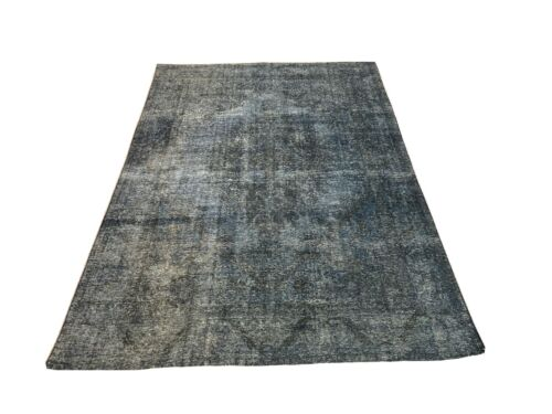 8' x 10' ANTIQUE HANDMADE WOOL RUG STONE WASHED GRAY BLUE M1821-73