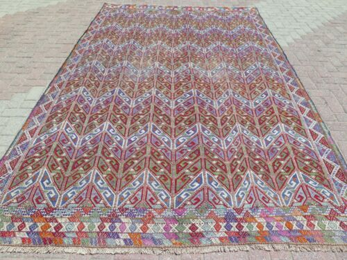 """Antique Turkish Kilim Embroidery Wool Large Rug Red Purple Color Carpet 81""""x136"""""""