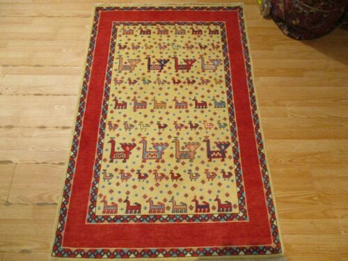 3x5 VERY UNIQUE TRIBAL CAUCASIAN VEGETABLE DYE HANDMADE-KNOTTED WOOL RUG 585962