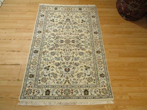 3x5 VERY UNIQUE NAIN VEGETABLE DYE HANDMADE-KNOTTED WOOL/SILK RUG 585322