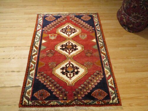 3x5 VERY UNIQUE FINE SHIRAZZ DESIGN HANDMADE-KNOTTED WOOL RUG 583387