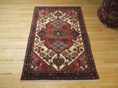 3x5 VERY UNIQUE CA 1970 FINE TRIBAL DESIGN HANDMADE-KNOTTED WOOL RUG 583421