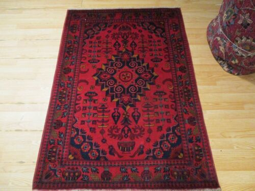 3x5 VERY UNIQUE FINE TRIBAL AFGHAN DESIGN HANDMADE-KNOTTED WOOL RUG 582815