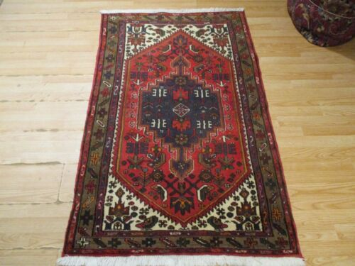 3x5 CA 1960 VERY UNIQUE LILIYAN DESIGN HANDMADE-KNOTTED WOOL RUG 583213