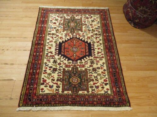 3x5 CA 1970 VERY UNIQUE GHARAJEH DESIGN HANDMADE-KNOTTED WOOL RUG 583442