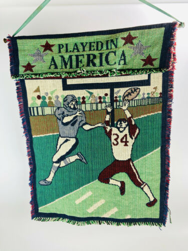 """American Football Played In America 28"""" X 21"""" Crocheted Indoor Hanging Flag 1996"""