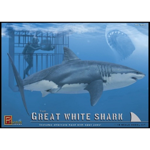 Pegasus 9501 1/18 Great White Shark with Cage and Diver - PEG-9501