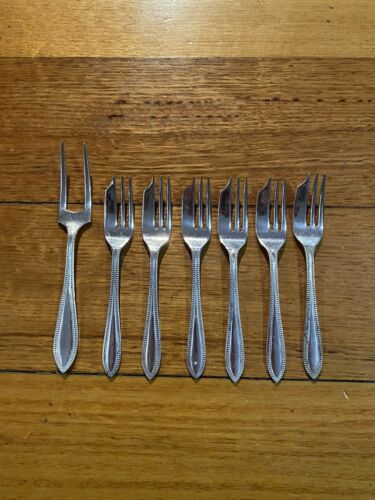 7 Vintage Marquis Plate Silver Forks