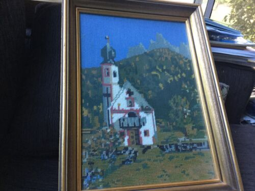 FINISHED FRAMED TAPESTRY EMBROIDERY 41x31x4 cm VGUC Surplus to need