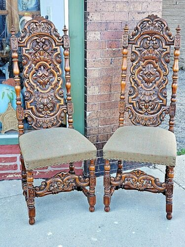 Tudor Ornate Antique Victorian wood carved William & Mary Throne chair 2 availa