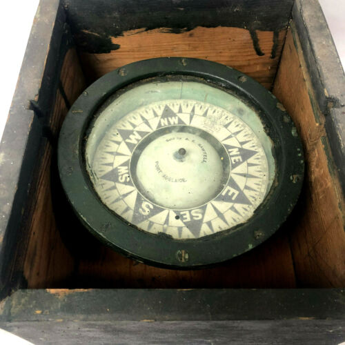 Antique Marine SHIPS COMPASS Cased Sold By AE SWATELL PORT ADELAIDE Wooden Case