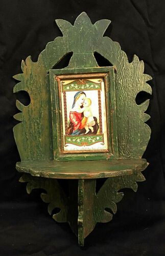 """20% OFF Santa Fe Nicho CARVED WITH FRAMED SANTO 'Dated 1918', 15"""" x 10"""" x 4"""""""
