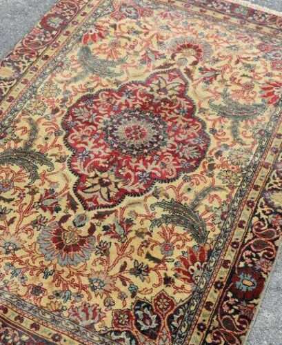 Rare Vintage Floral Hand made knotted Area Rug Vines Oriental Wool Carpet 3'x5'