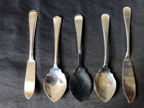 Vintage Plated Jam Relish Spoons x 3 & Butter Knives x 2 High Tea Unbranded