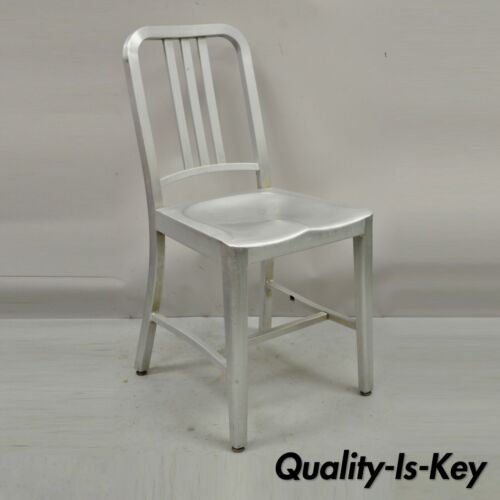 Vintage Emeco Navy 1006 Chair Brushed Aluminum Retro with Original Tag