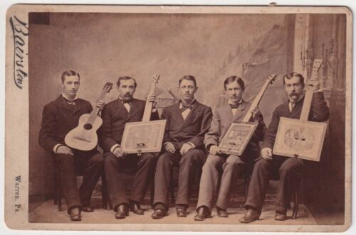 Musicians Hold Guitar & Cigar Box Stringed Instruments 1870s PA Cabinet Photo