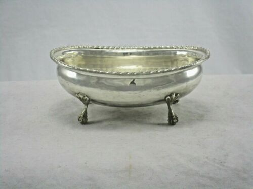 Antique 800 Silver Italian Footed Hand Hammered Gadroon Border Sugar Bowl 104 Gr