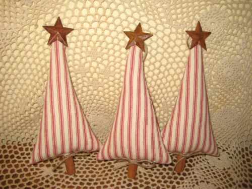 Country Christmas Decor 3 Red Ticking Trees Bowl Fillers Fabric Tree Ornaments