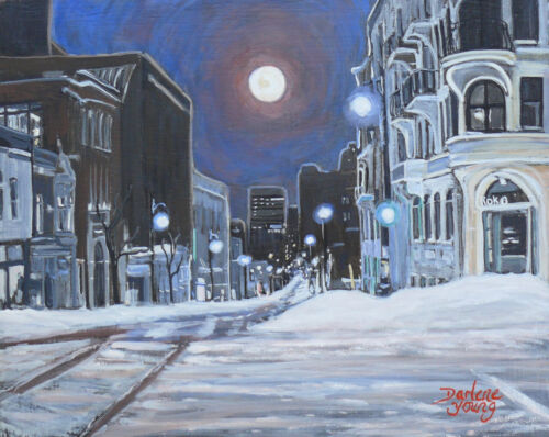 Montreal Winter Moon, 8x10, egg tempera, Darlene Young Canadian Artist
