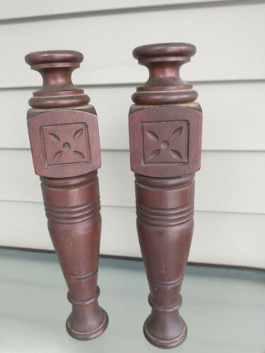 """Pair Antique Carved East Lake Style Walnut Columns Spindles Posts 13 X 2 1/2"""""""
