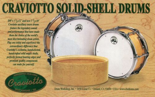 2002 small Print Ad of Drum Workshop DW Craviotto Solid Shell Snare Drum