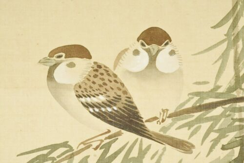 """JAPANESE PAINTING HANGING SCROLL 65.9"""" Sparrow VINTAGE OLD Japan Antique b660"""