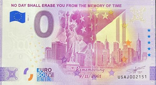BILLET 0 EURO NO DAY SHALL ERASE FROM 11 SEPT ANNIVERSARY  USA 2021 N° DIVERS