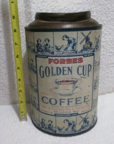 vintage Forbes Golden Cup Coffee tin 3 lbs tin lot S