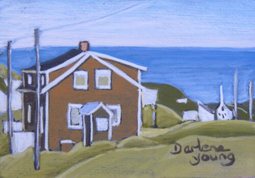 """Gaspe, Brown House, ACEO 2.5x3.5"""", egg tempera, Darlene Young Canadian Artist"""