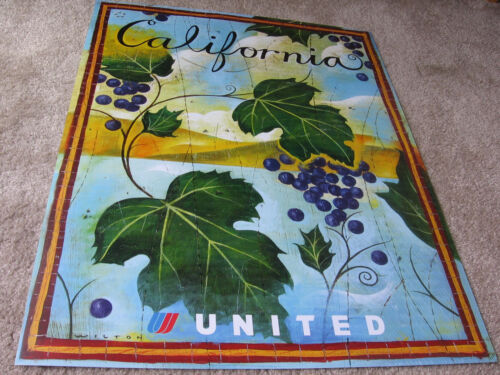 UNITED AIRLINES UAL CALIFORNIA TRAVEL POSTER 2001 WINE COUNTRY STAIN GLASS ART