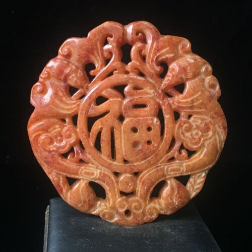 Chinese old Rare jadeite hand-carved pendant necklace statue bat flower 006