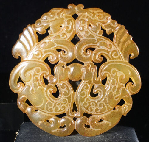 589Chinese old rare jade hand-carved pendant necklace statue Dragon Phoenix 008