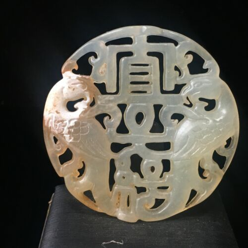Chinese old Rare jadeite hand-carved pendant necklace statue Phoenix 022