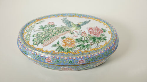 Chinese Enamel metal BOX - peacock bird over branches late qing to republic 20th