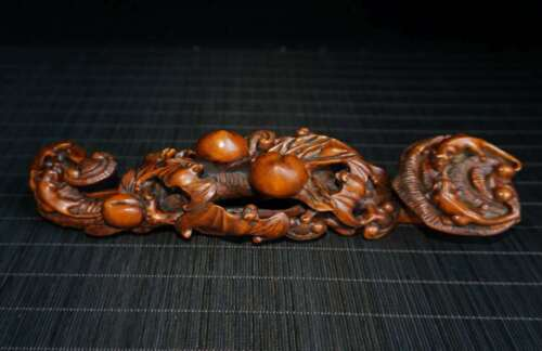 Chinese Exquisite Boxwood Hand carved five blessings Ruyi Statue 50700