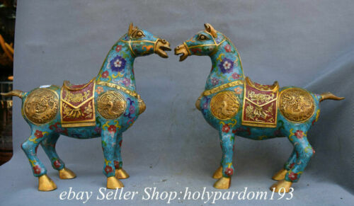 """13.2"""" Chinese Bronze Gilt Cloisonne Fengshui 12 Zodiac Year Horse Statue Pair"""