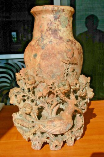"""Asian Deep Carved SOAPSTONE Vase High Relief Phoenix Bird Floral NICE 12"""" x 8"""""""