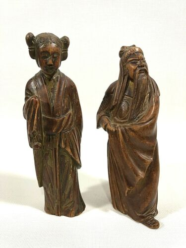 """Antique Late-Qing Dynasty 6"""" CHINESE GILDED WOOD CARVED FIGURES"""