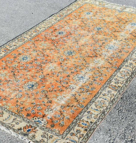 Vintage 8'x4 feet Floral Distressed Rust Hand Knotted Oriental Rug Wool Carpet