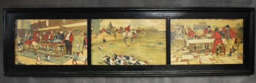 Cecil Aldin 1870-1935 Triptych Hand Tinted HUNT Collection Framed