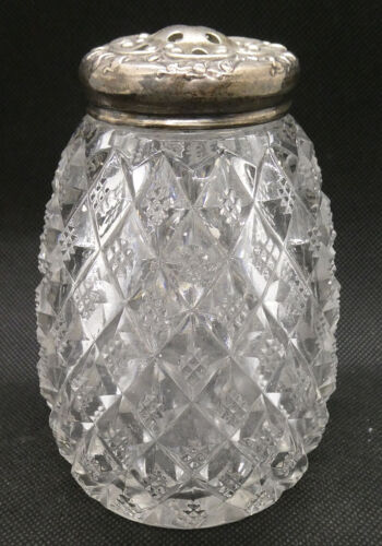 Antique Glass and Sterling Silver Sugar Shaker